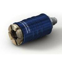 """WEH® Connector TW111 for filling refrigerants on Schrader valves  5/16"""" SAE, blue (low pressure),  EPDM seal, max. 42 bar, inline media inlet UNF 1/2""""-20 male thread"""