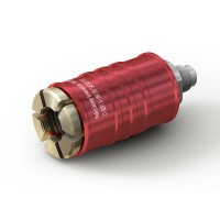 """WEH® Connector TW111 for filling refrigerants on Schrader valves  5/16"""" SAE, red (high pressure), EPDM seal, max. 42 bar, inline media inlet UNF 1/2""""-20 male thread"""