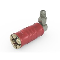 "WEH® Connector TW111 for filling refrigerants on Schrader valves 1/4"" SAE , red (high pressure), chloroprene seal, max. 42 bar,  90° media inlet UNF 7/16""-20 external thread"