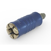"""WEH® Connector TW111 for filling refrigerants on Schrader valves 1/4"""" SAE , blue (low pressure), chloroprene seal, max. 42 bar,  inline media inlet UNF 7/16""""-20 male thread"""